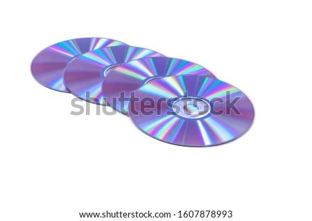 4 purple DVD discs on a white background