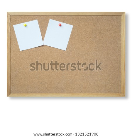 Push Pin or paper pin , card or note paper with push pin on cork board or notice board background.