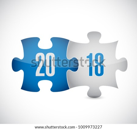 2018 puzzle pieces concept illustration design isolated over white