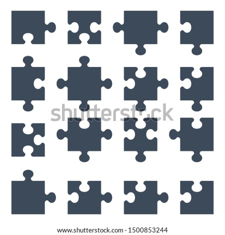 puzzle pieces. Design elements for marketing, advertising, promotion, branding and media. Flat cartoon illustration. Objects isolated on a white background.