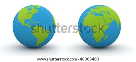 7000 px two hemispheres of a globe (highres 3d isolated objects on white background series)