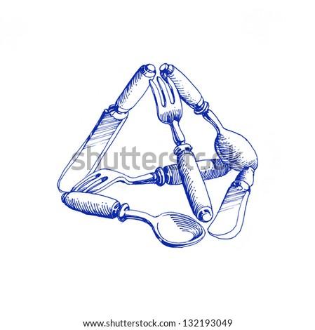 �pyramid of cutlery -3
