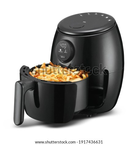 2 Qt. Digital Air Fryer Isolated. Black  Electric Deep Fryer Side Front View. Modern Domestic Household Small Kitchen Appliances. 1800 Watts Convection Oven 5.2 Liter Capacity Oilless Cooker