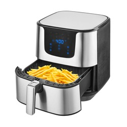 5.3 Quart Air Fryer Isolated on White. Brushed Stainless Steel Electric Deep Fryer Side View. Silver Modern Domestic Household & Small Kitchen Appliances. 1500 Watts Convection Oven & Oilless Cooker