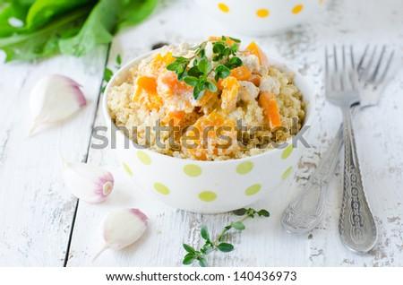 Quinoa with pumpkin . Selective focus