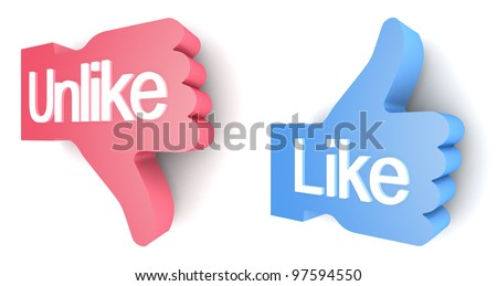 """Like"" and ""Unlike"" buttons 3d render on white background - stock photo"