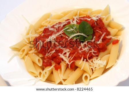 "Penne all arrabbiata"" pasta with piquant tomato sauce and grated ..."
