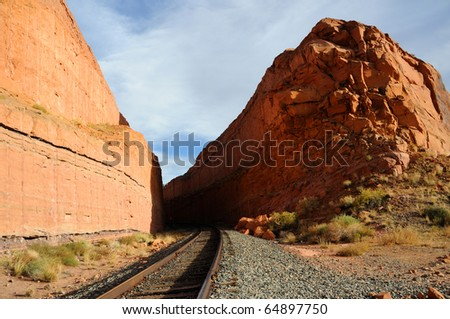 Railroad through Remote Desert Canyon