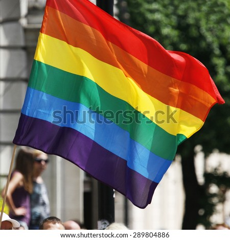 Rainbow flag waiving in London's Gay Pride #289804886