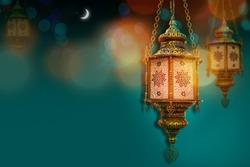 Ramadan kareem poster, celebration lamp lantern. Arabic islam culture festival decoration religious background Traditional muslim invitation card  with Crescent moon