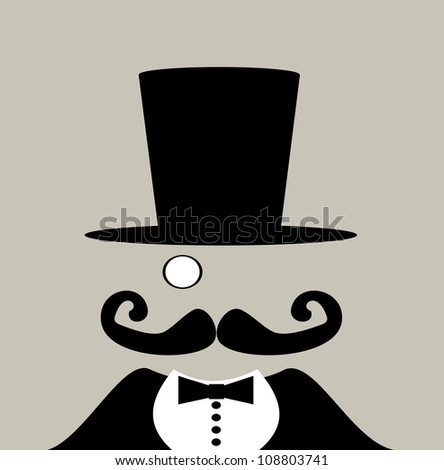 raster illustration of carnival circus barker with giant handlebar mustache