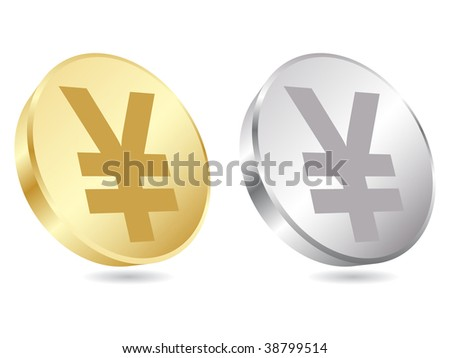 (raster image of vector) coins of yen