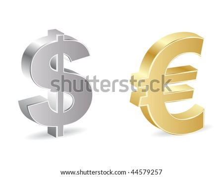 (raster image of vector) dollar and euro icon