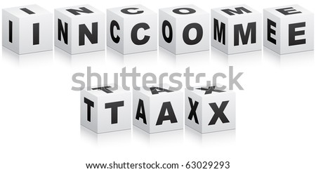 (raster image of vector)income tax word