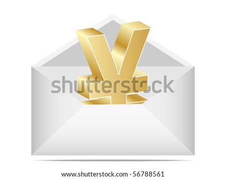 (raster image of vector) letter with yen