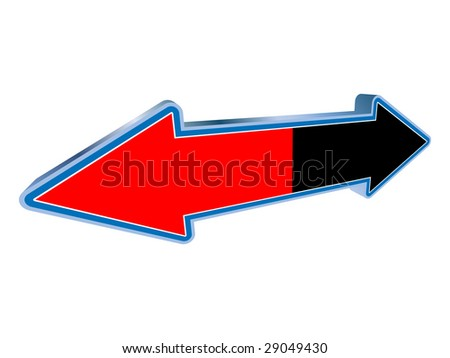 (raster image of vector) Opposite arrow