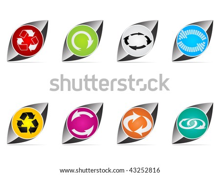 (raster image of vector) recycling web buttons different colors