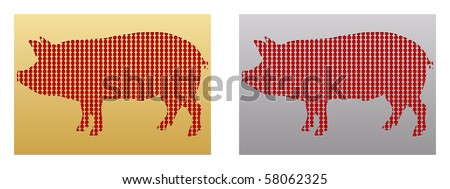 (raster image of vector)stamp with pig - stock photo