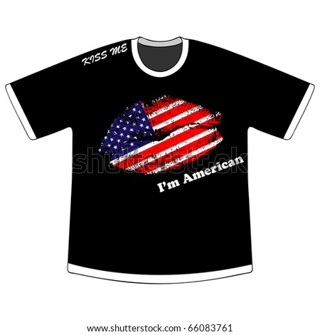 (raster image of vector) t-shirt with american kiss