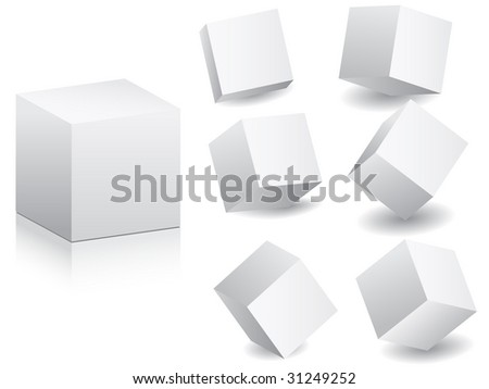 (raster image of vector) white boxes in different position vector illustration #31249252