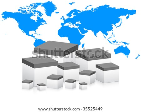 (raster image of vector) world wide delivery - stock photo