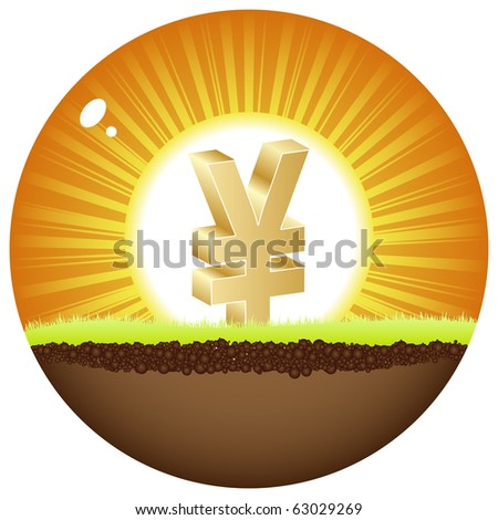 (raster image of vector)yen view in sunshine