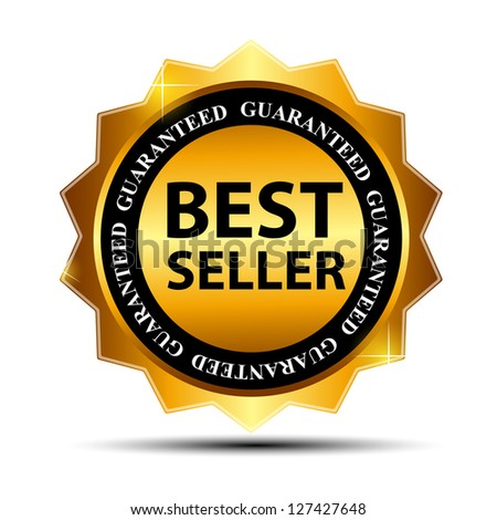 Raster version Best Seller label with red ribbon. - stock photo