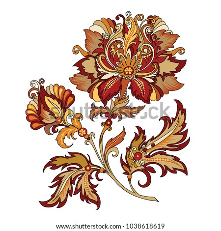 Raster version illustration. Clipart decorative abstract red flower with oriental style. Beautiful vintage colored illustration of a branch of flowers in baroque style
