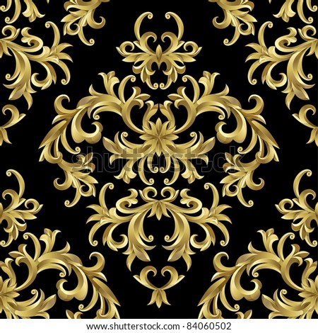 Raster version of vector seamless from abstract gold plant.