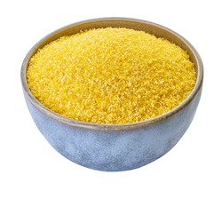 raw corn grits with clipping path, white isolated background