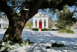 Raymond Episcopal Church  in snow