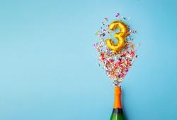 3rd anniversary champagne bottle balloon pop
