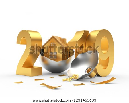 2019 Real Estate Concept. Golden 2019 New Year and broken Christmas ball with house icon isolated on white background. 3D illustration