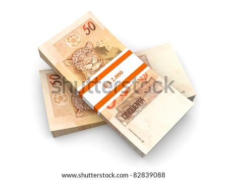 50 Real notes. The brazilian currency. 3D rendered Illustration. Isolated on white.