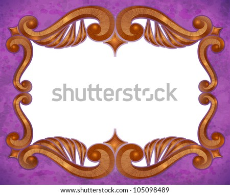 realistic vintage wooden frame - stock photo