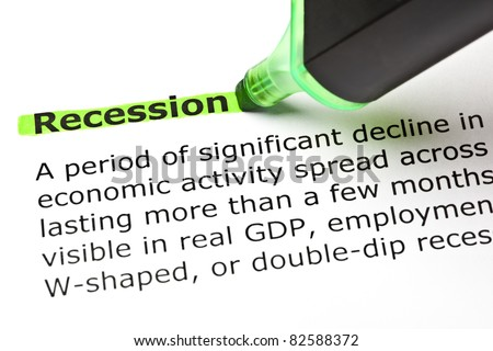 'Recession' highlighted in green with felt tip pen