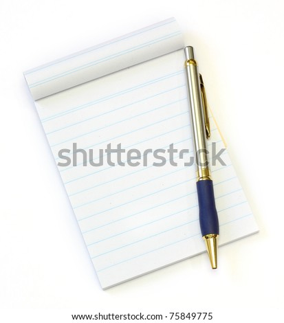 recycle notebook and pen on a white background - stock photo