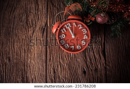 red alarm clock waiting time to xmas and new year