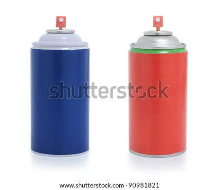 red and blue spray paint isolated on white background