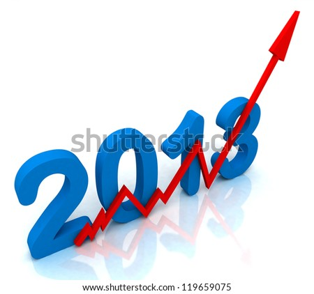 2013 Red Arrow Showing Sales Turnover For Year - stock photo