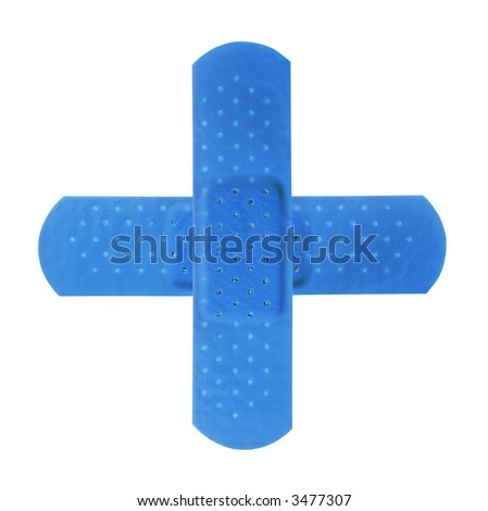 2 red bandages making red cross on pure white background