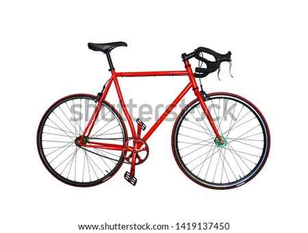 Red bike isolated on white background    #1419137450