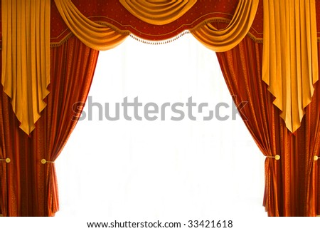 Red-Brown and golden-yellow coloured curtains over white