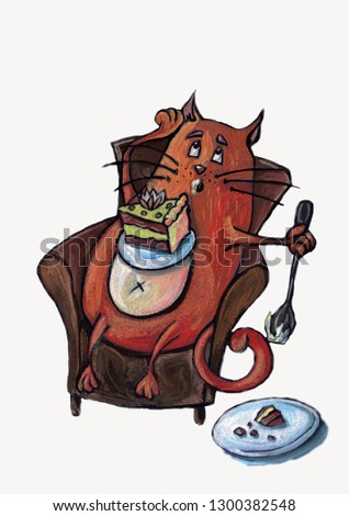 red cat-glutton with cake