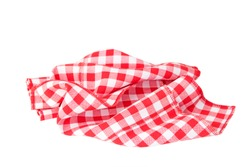 Red checkered tablecloth isolated on white background