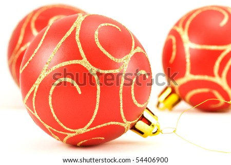 red christmas balls  with ornament. Isolated on white