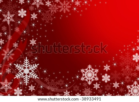 Red christmas illustration background with snowflakes and ribbons (no vector)