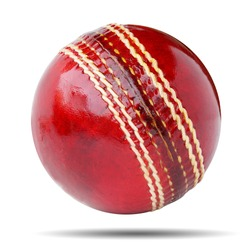Red cricket ball isolated on white background. This has clipping path.