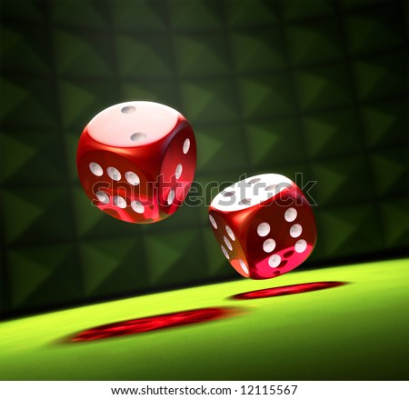 2 Red Dice on a green table in a spot - stock photo