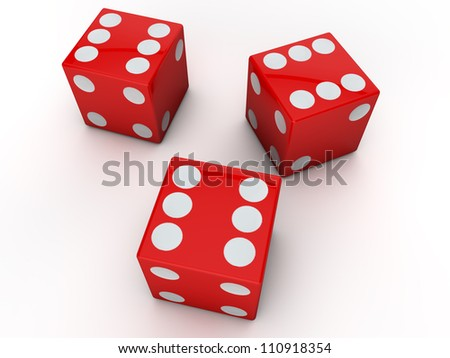 3 red dices showing the six #110918354